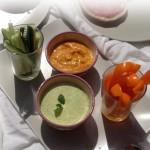 Oranje paprika met pompoenhumus