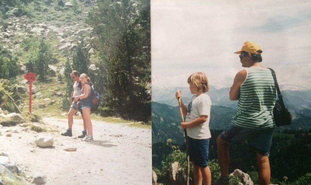 foto van vroeger: wandelen in de bergen met papa