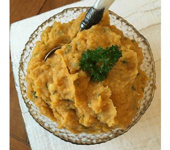 Foto van zoete aardappel hummus van mungbonen, recept